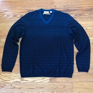 Calvin Klein Blue Striped V-Neck Sweater